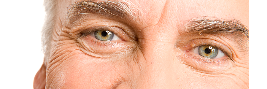 closeup of elderly man's eyes